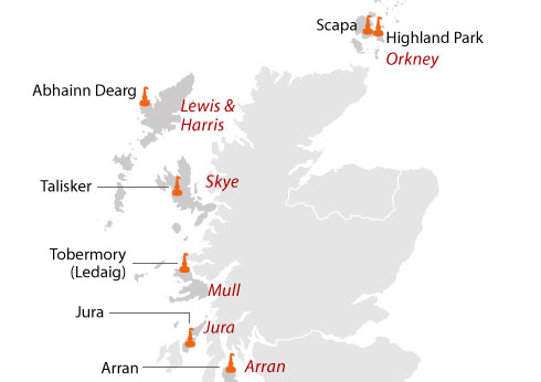 Islands map, islands whisky, whisky